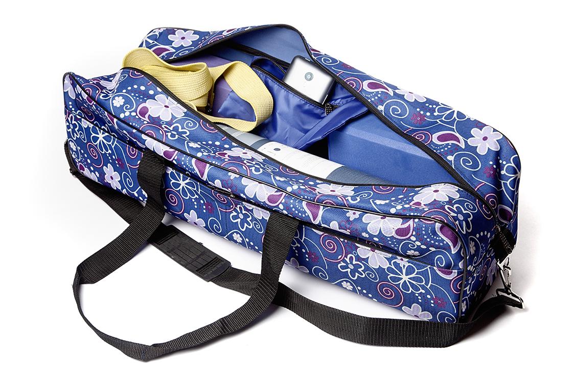 Сумка для йога-коврика Гаруда, цветы на синем (19 см, 70 см, синий, 17 см)