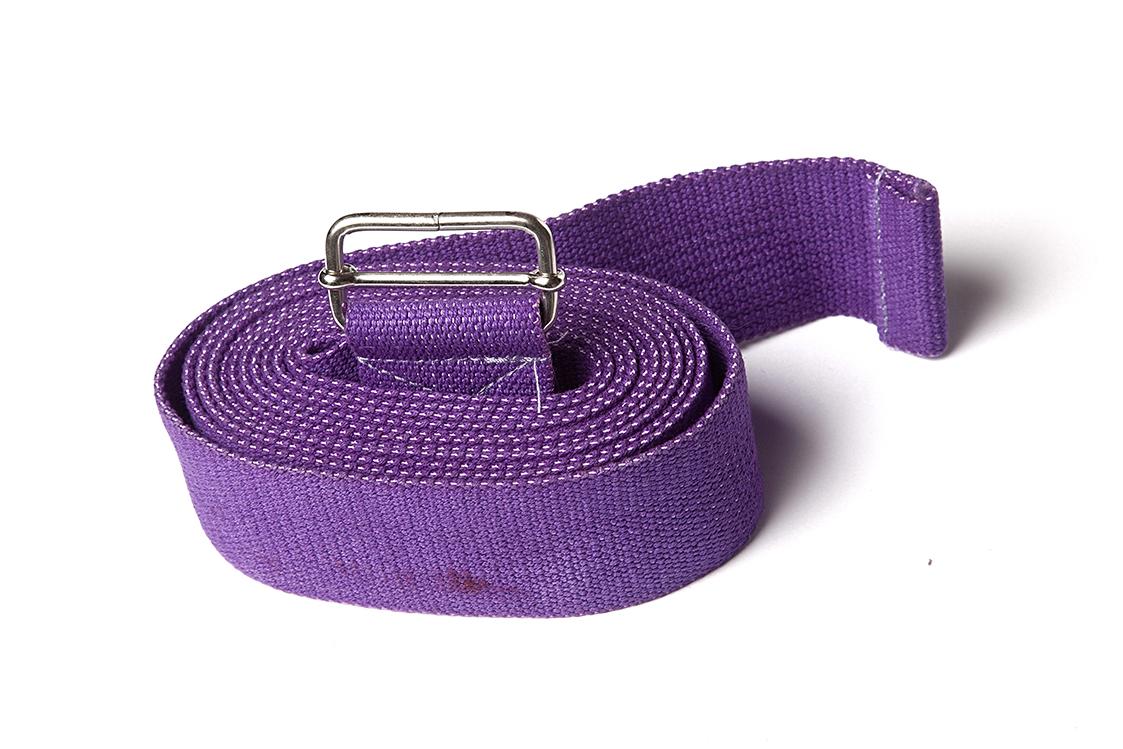 Ремень для йоги хлопковый Де люкс усиленный 270см х 4см фиолетовый (270 см)