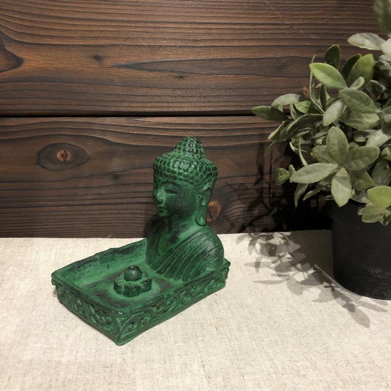 Подставка под благовония квадратная с Буддой из гипса с имитацией камня (0,2 кг, зеленый) подставка под благовония слоник с каменной крошкой