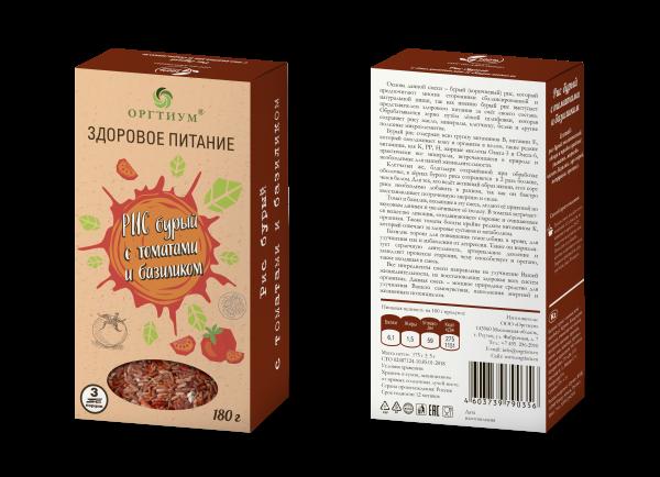 цена Рис бурый с томатами и базиликом, ОРГТИУМ (180 г) онлайн в 2017 году