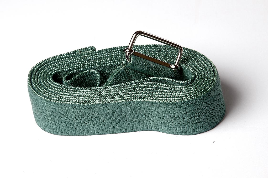 Ремень для йоги хлопковый Де люкс усиленный 270см х 4см хаки (270 см, хаки)