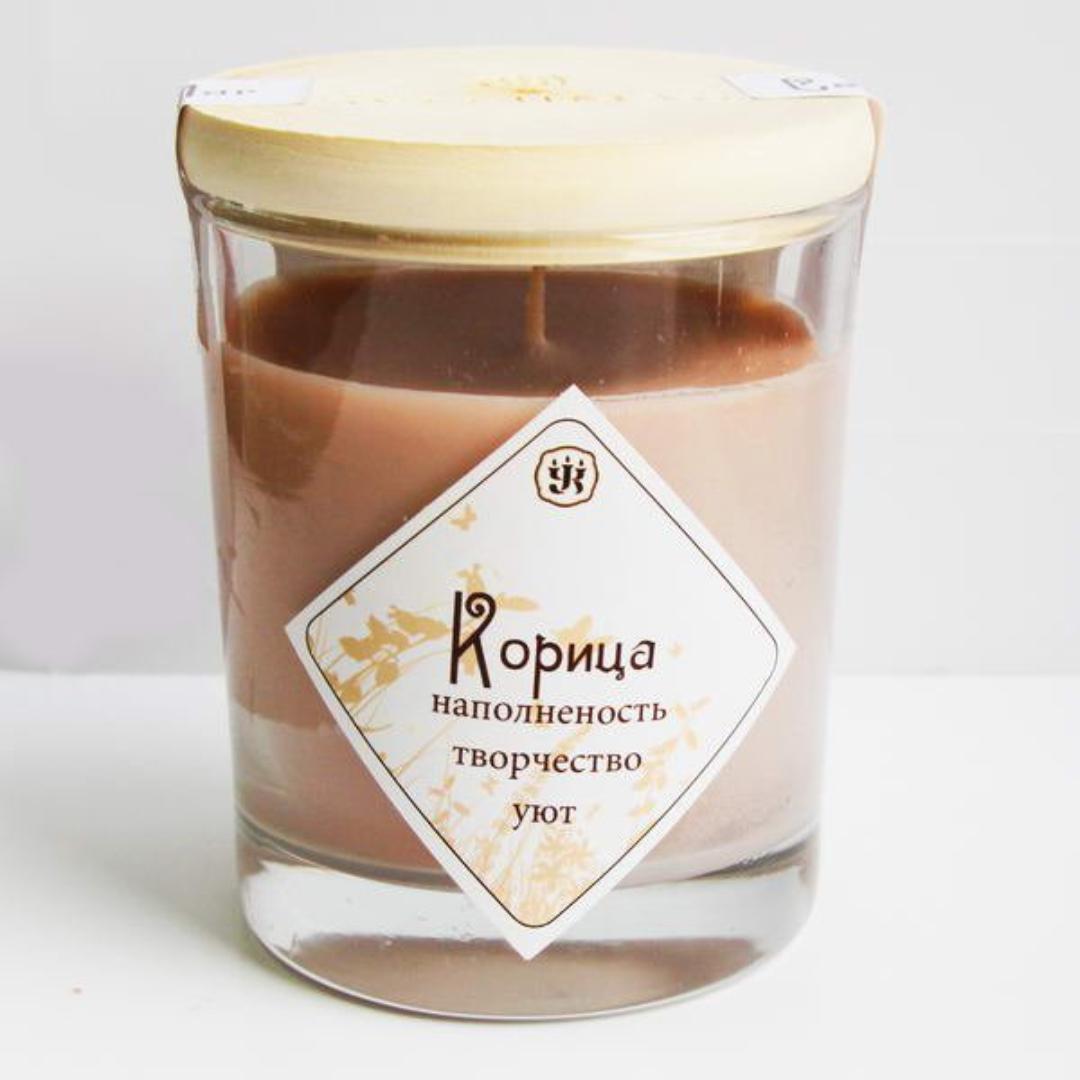 Свеча ароматическая с эфирным маслом корицы (9 см, 200 г, 30 ч)