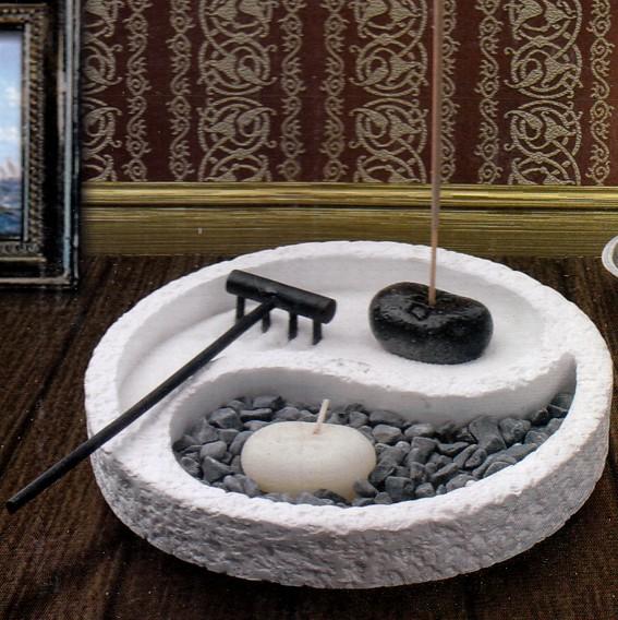 Садик дзен инь-янь (камни, песок, благовония, подставка, свеча, грабли) 15см аромалампа слон инь ян