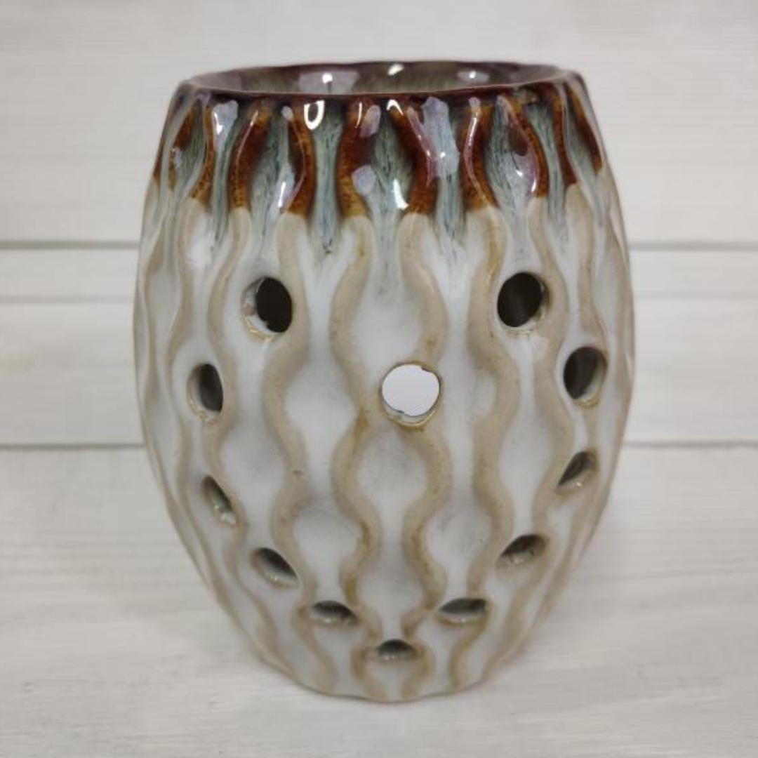 Аромалампа керамическая овал с узором 10,5 см (0,1 кг) аромалампа индонезийская ручной росписи керамическая 12см 12 см