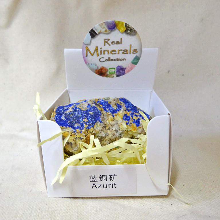 Азурит минерал/камень в коробочке Real Minerals Collection