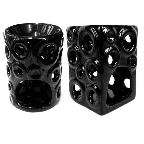 Аромалампа керамическая черная с круглыми отверстиями 11см (M031)