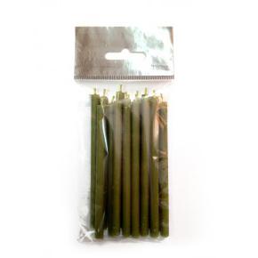 Свеча восковая 10 см, оливковая (пасч13)