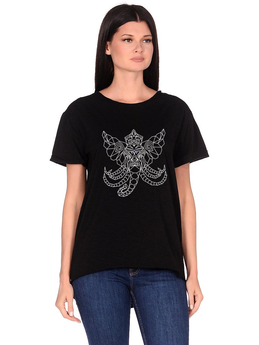 Футболка женская Ganesh (0,2 кг, M (46), черный) футболка женская oodji ultra цвет черный бирюзовый 14707001 17 46154 2973f размер m 46
