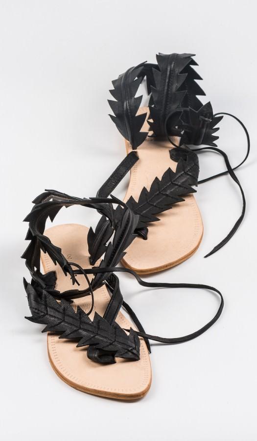 Сандали кожаные римлянки индийские (0,4 кг, 36, черный)