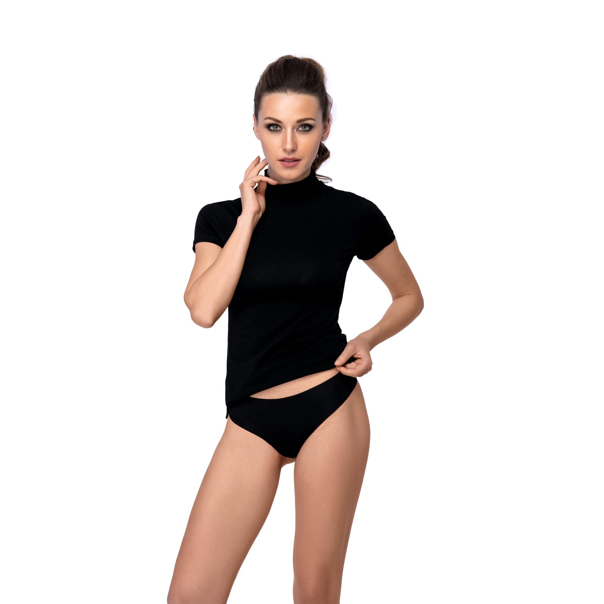 Трусики женские спортивные стринги из хлопка (42, черный)