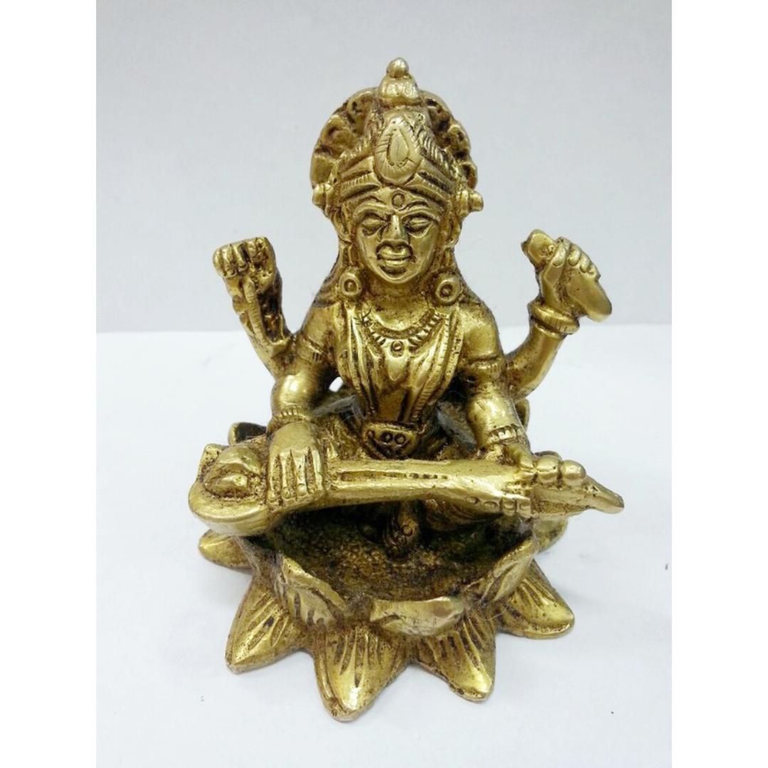 Сарасвати четырехрукая на лотосе статуэтка бронза 8,5см