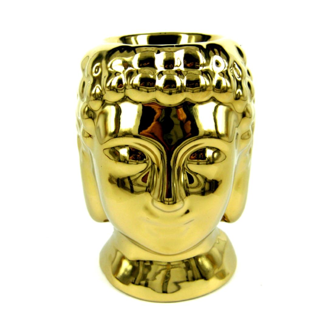 Аромалампа голова Будды золотая 10 см (M673-2 0,3 кг) аромалампа каменная ваза с солнцем 7 5х9 5см sob7260 0 3 кг