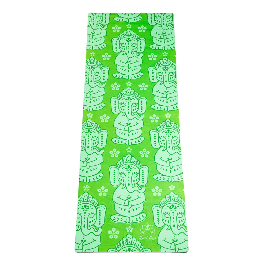 Коврик для йоги Слоники DY из микрофибры и каучука ( Devi Yoga зеленый 173 см 2,2 кг 3.5 мм 61см ) коврик для йоги 173х61х0 7 см серый hkem1205 07 grey
