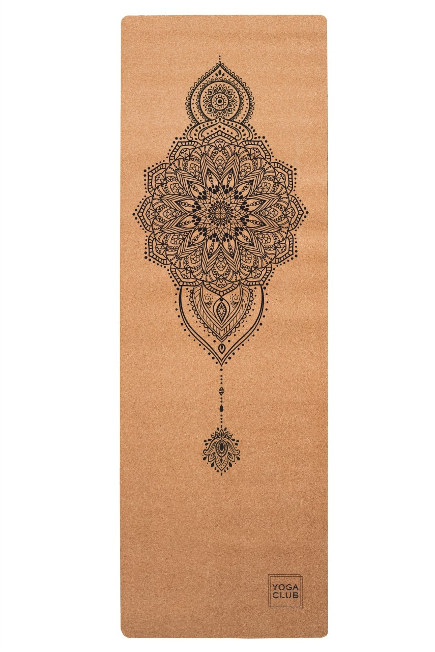 Коврик для йоги Mehendi YC из пробки и каучука (2,2 кг, 185 см, 3 мм, бежевый, 61см) цена