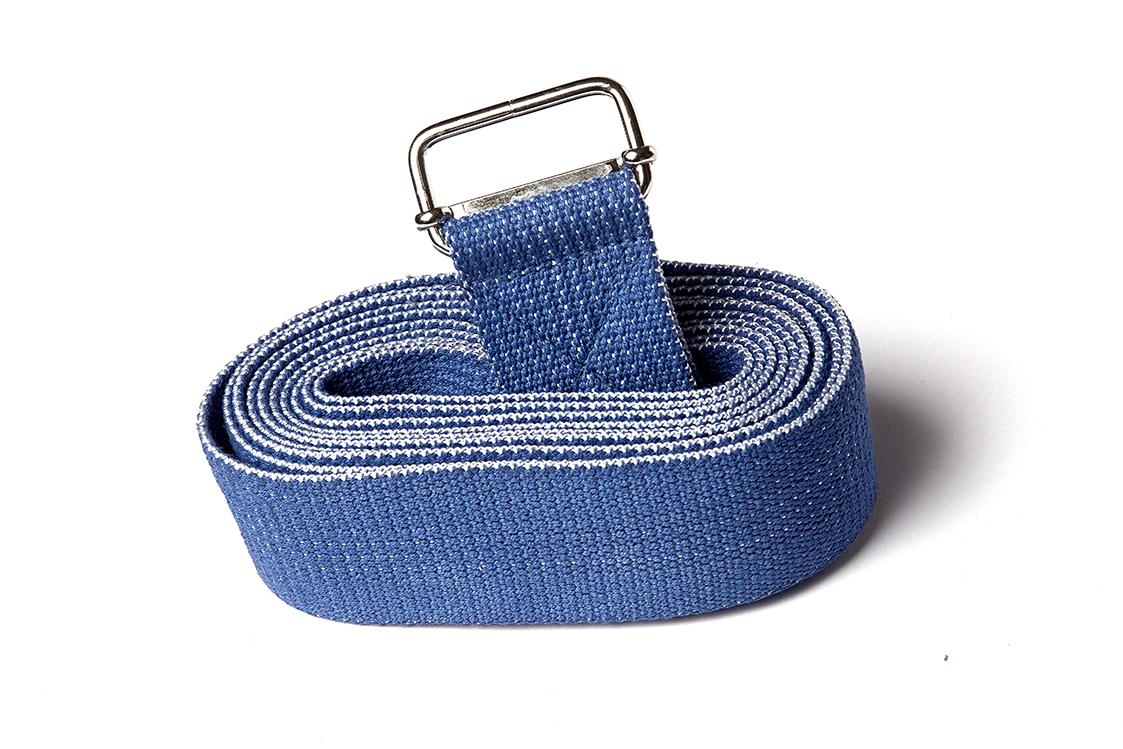 Ремень для йоги хлопковый Де люкс усиленный 270 см х 4см синий