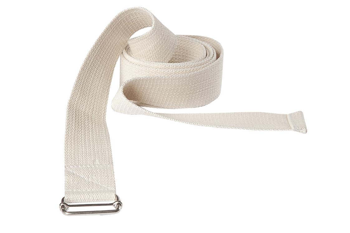 Ремень для йоги хлопковый Де люкс усиленный шириной 3см (300 см, белый, 3 см)