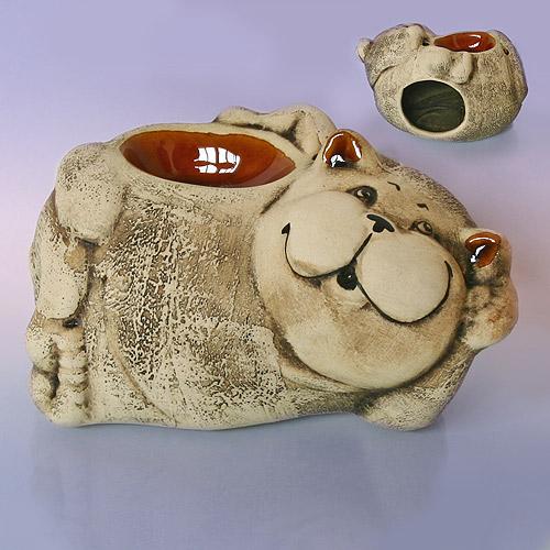 Аромалампа Кот лежебока, несущий  в дом уют, шликер 15х11 см (EFL0008)