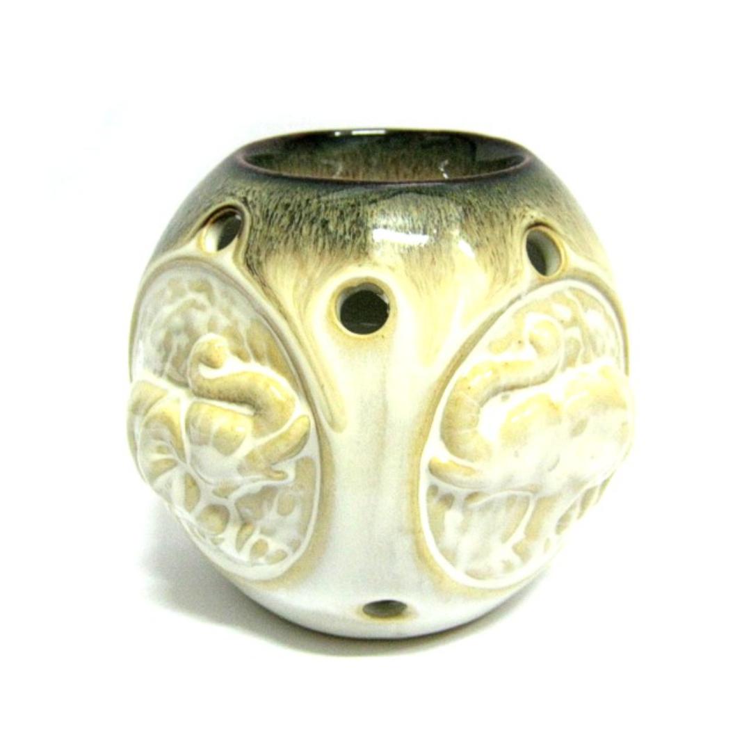 Аромалампа круглая со слонами светлая / темная керамика 10см (N238) аромалампа яблоко керамика 9 см