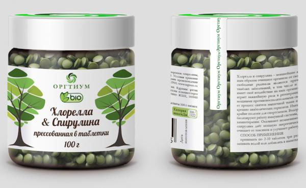 Хлорелла &Спирулина прес. в таб Оргтиум (50 г)