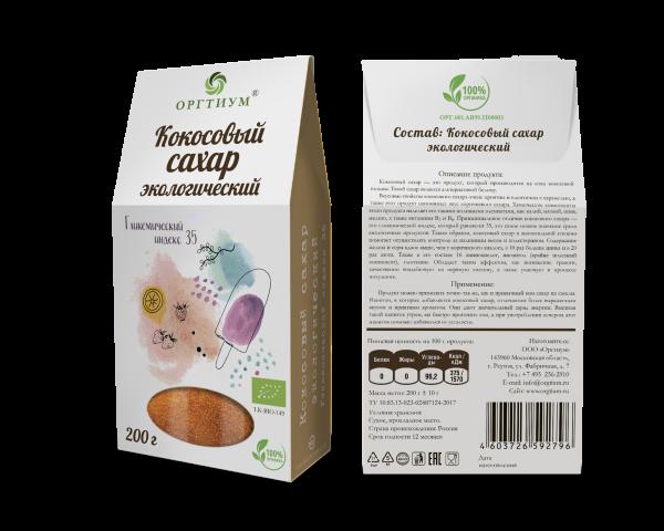 Кокосовый сахар, ОРГТИУМ (200 г)