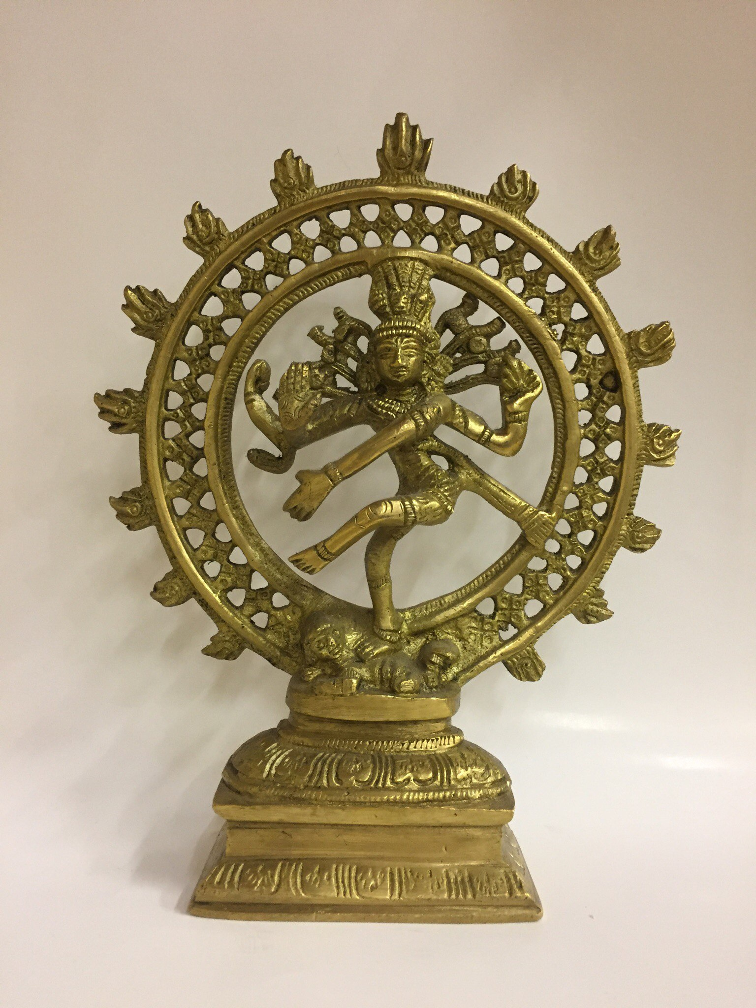 Шива натарадж статуэтка бронза 21см ( желтый )