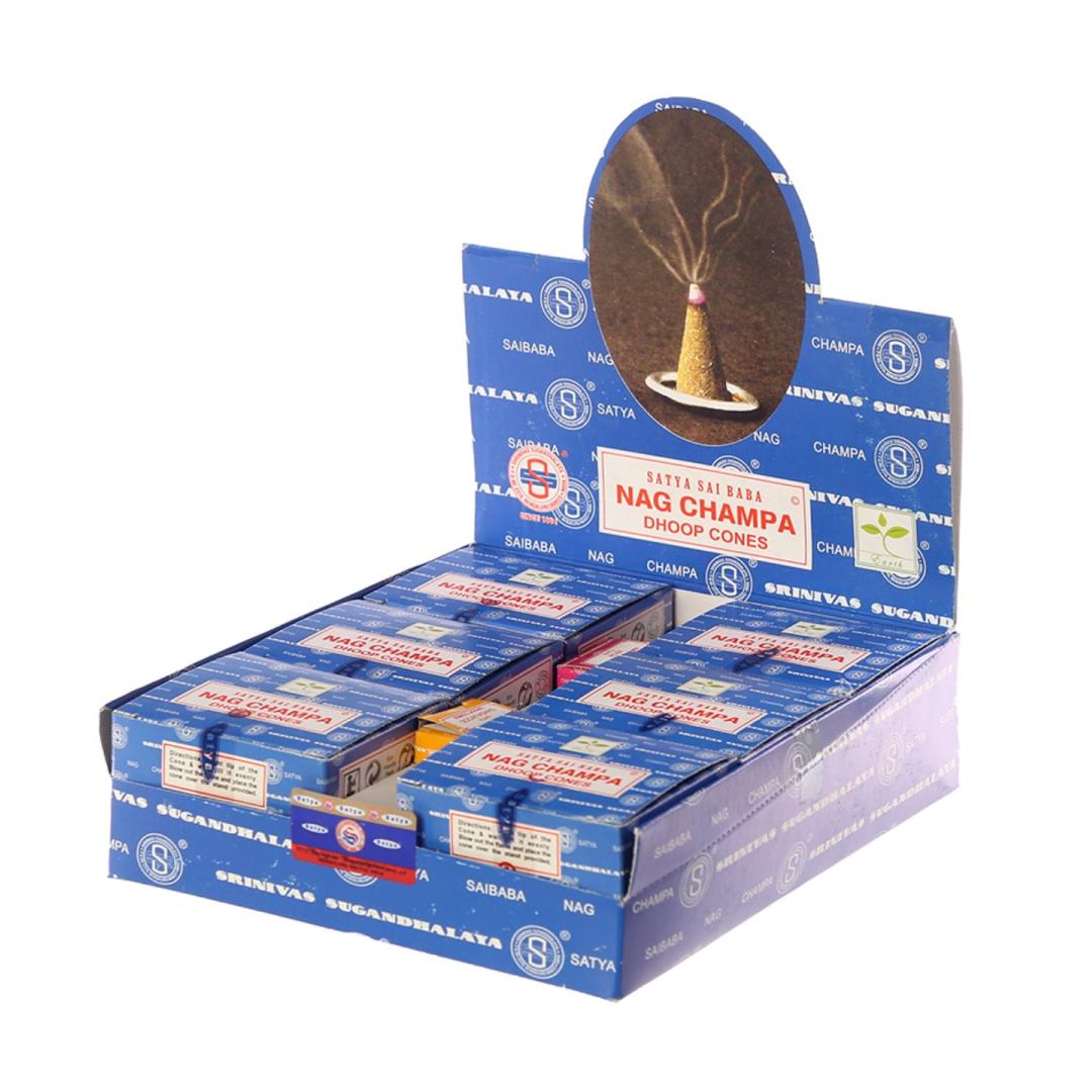 Благовония конусные наг чампа nag champa dhoop cones Satya (0,05 кг, 12 шт)