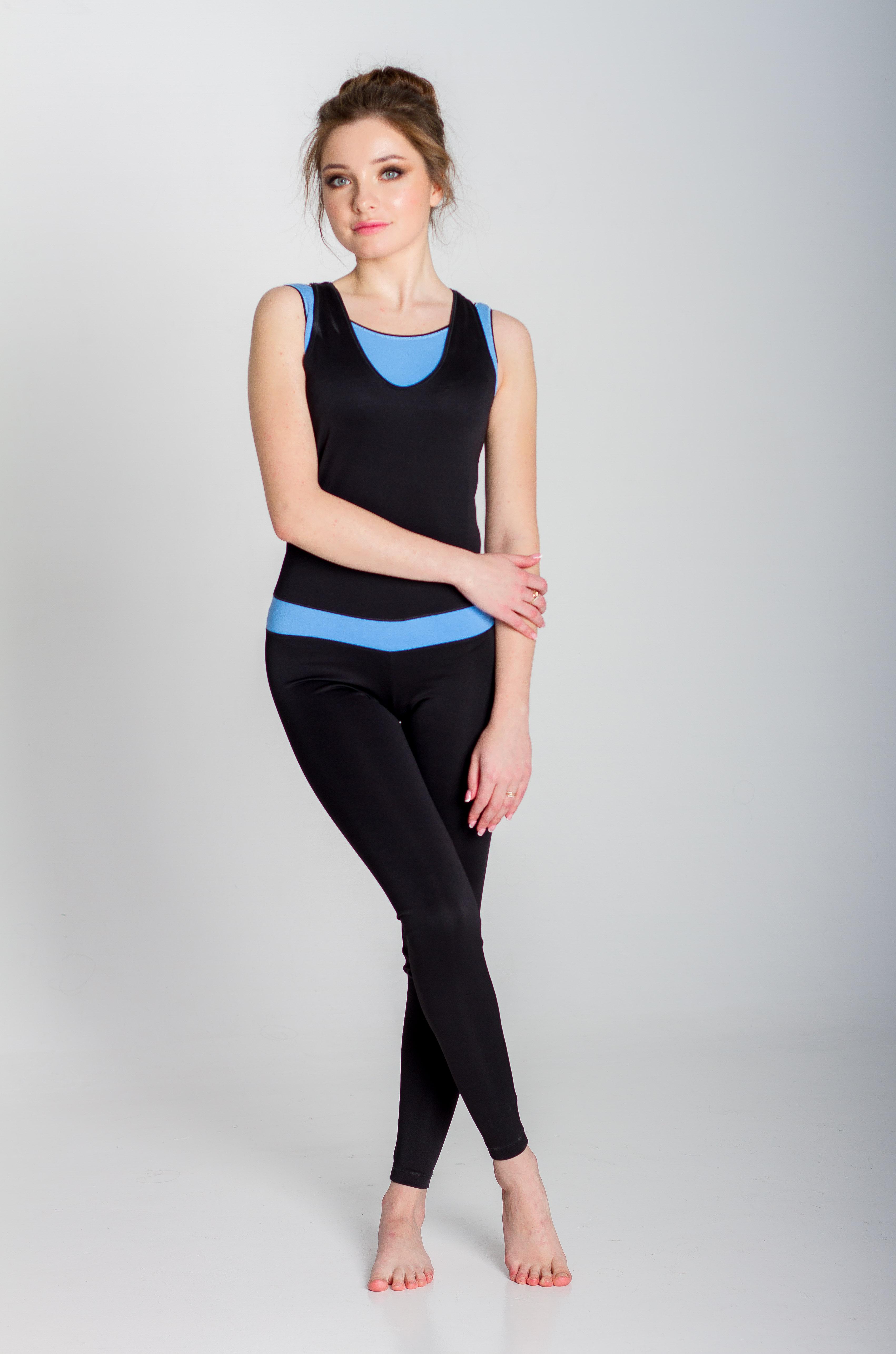 Комбинезон для йоги и фитнеса Селена (170см, S(44), голубой)