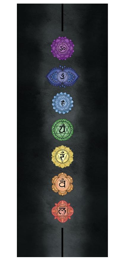 Коврик для йоги Chakras EGOyoga из микрофибры и каучука (2.7 кг, 183 см, 4 мм, черный, 66см) коврик для йоги pro chakras yc из полиуретана и каучука 2 3 кг 185 см 4 5 мм черный 68см