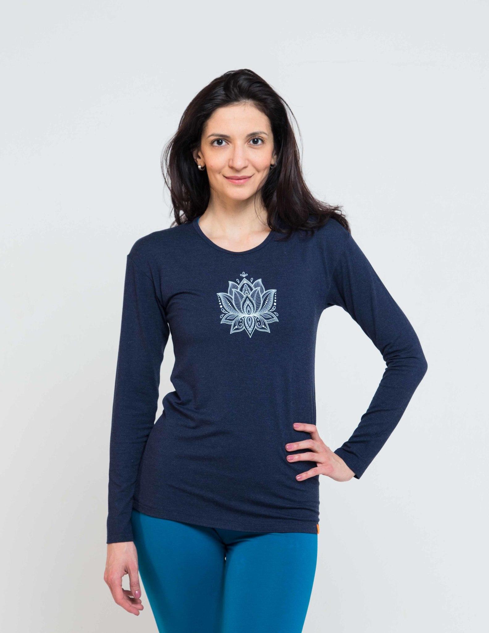 Футболка женская Лотос с длинным рукавом YogaDress (0.2 кг, M (46), синий) футболка женская лотос с длинным рукавом yogadress 0 2 кг l 48 малиновый