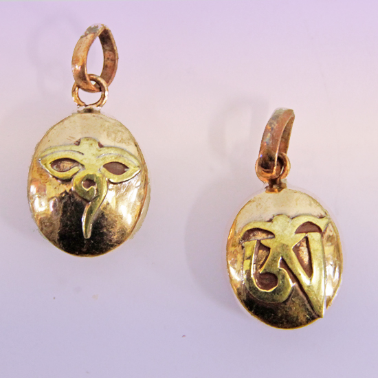 Подвеска контейнер символы обереги медь и золотистая латунь 1,8 см непал (1,8см)