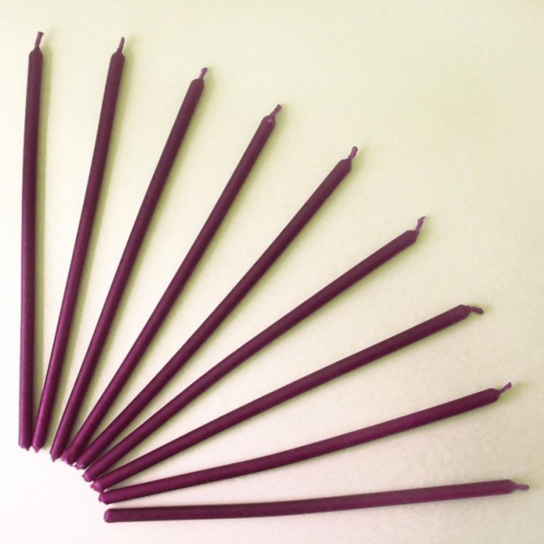 Свеча восковая двухчасовая фиолетовая 20 см (0,05 кг, см, фиолетовый)