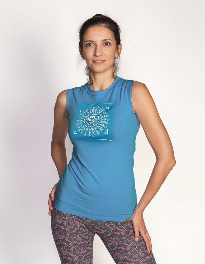 Майка женская Мантра YogaDress (0,3 кг, M(46), синий) майка мужская ганеша yogadress m 48 синий джинсовый