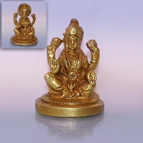 Лакшми четырехрукая сидит статуэтка из бронзы 6,5 см