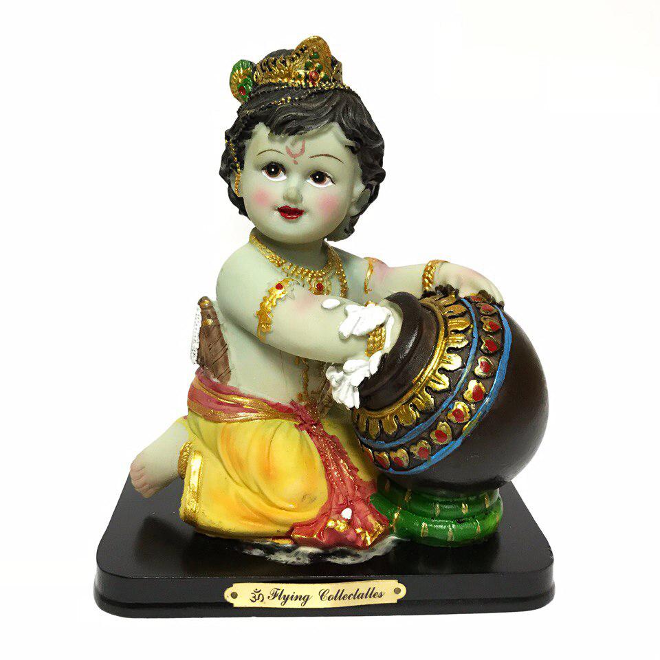 Статуэтка Кришна ребенок с горшочком цветной пластик 16 см (0,3 кг, 16 см, 15 см) статуэтка кришна и радха с коровой нанди цветной пластик 17 см 0 5 кг 17 см 13 см