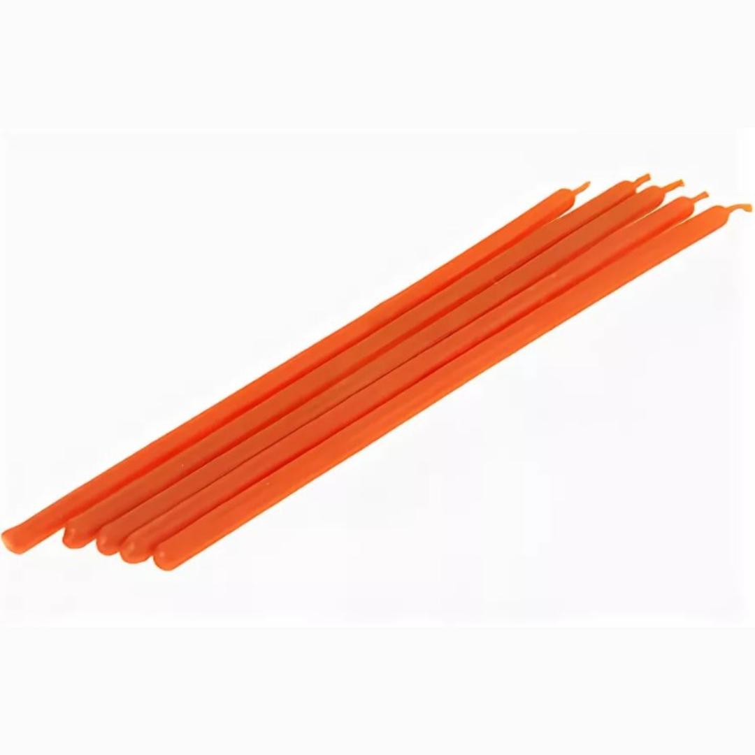 Свеча восковая часовая оранжевая 15 см (оранжевый) цена и фото