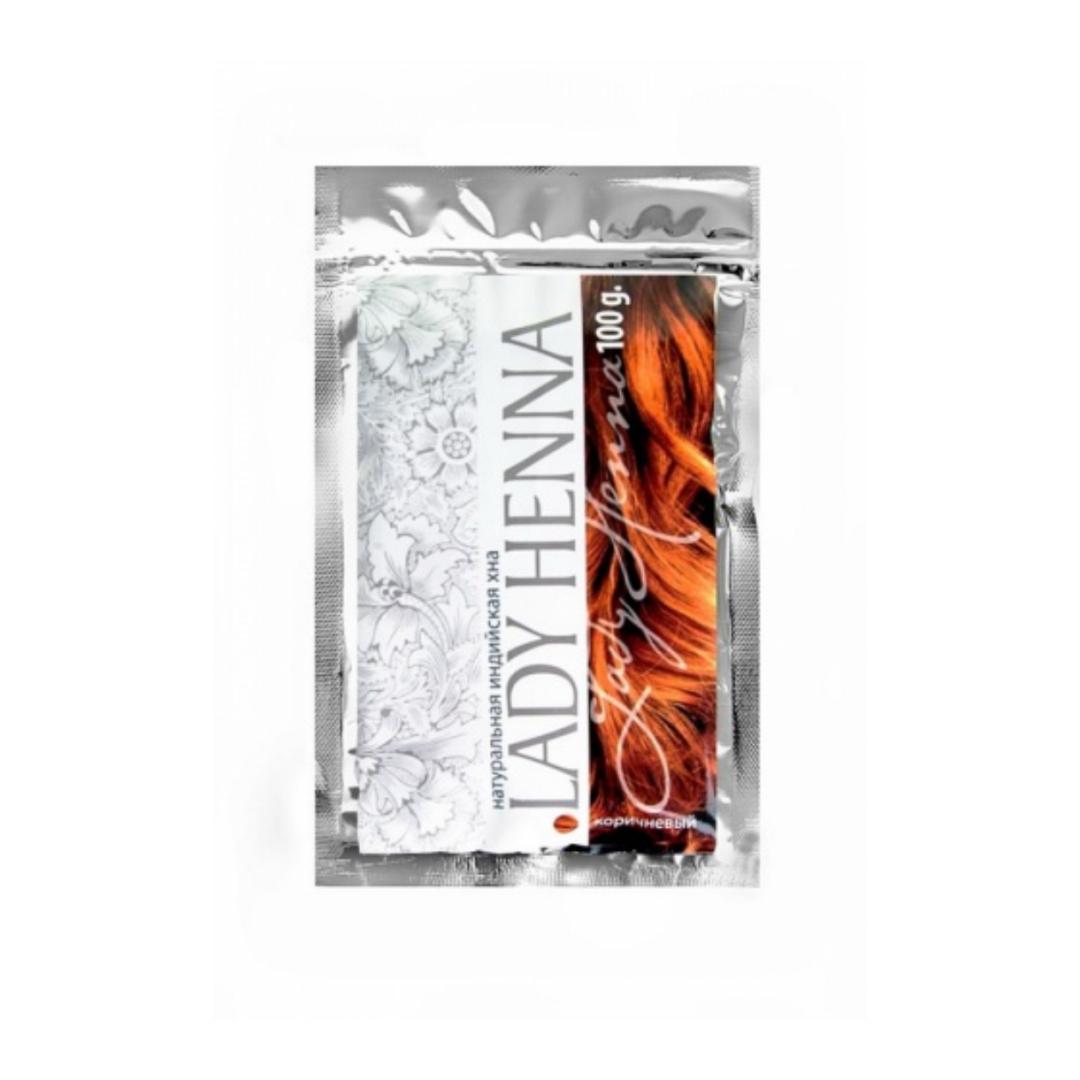 Хна натуральная индийская Lady Henna коричневая, в пакете (100 гр, коричневый) натуральная хна для бровей темно коричневая lady henna ааша