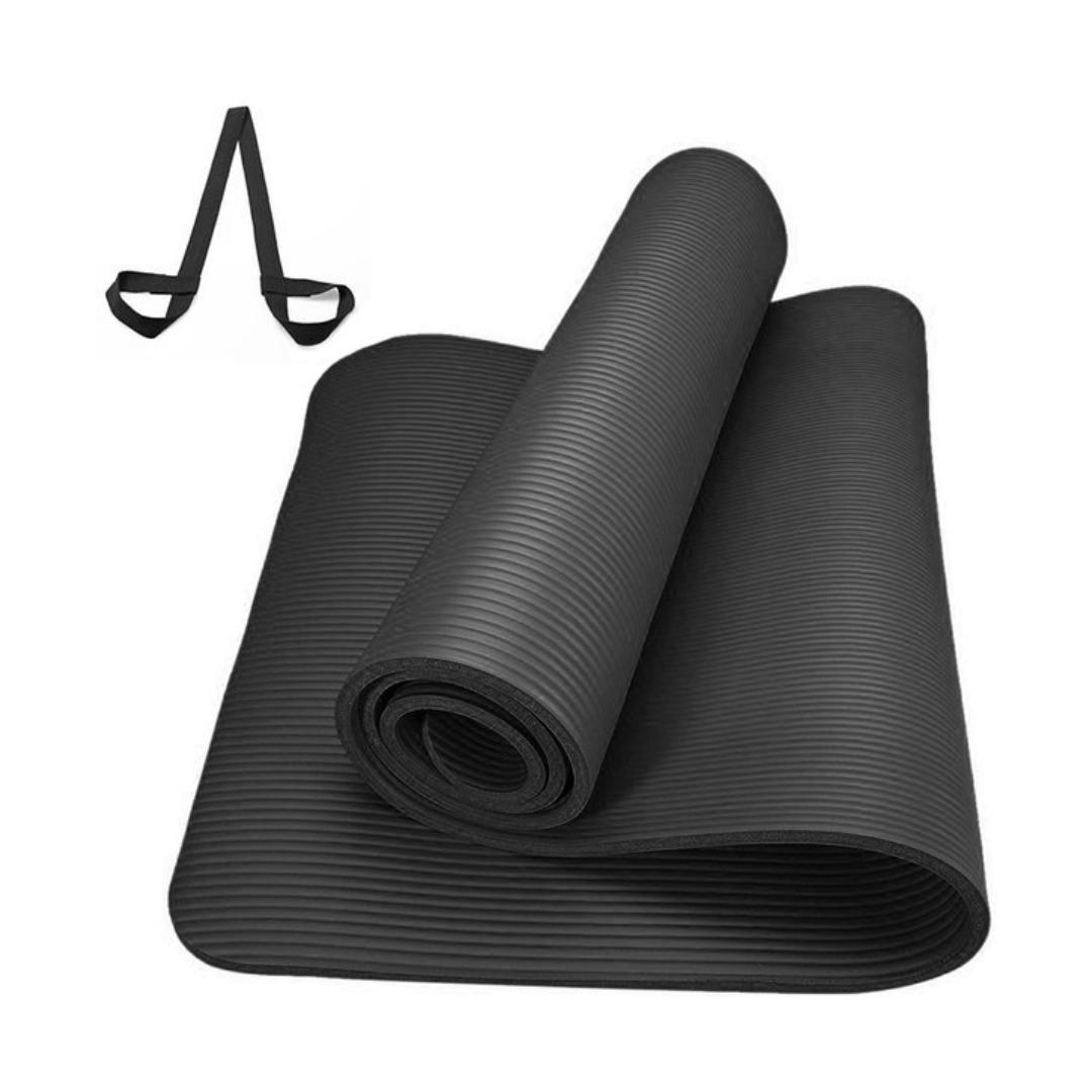 Коврик для йоги и фитнеса NBR 1,5 см (183 см, 1,5 см, черный, 60 см) коврик для йоги и фитнеса nbr go do 1 см 183 см 1 см черный 60 см