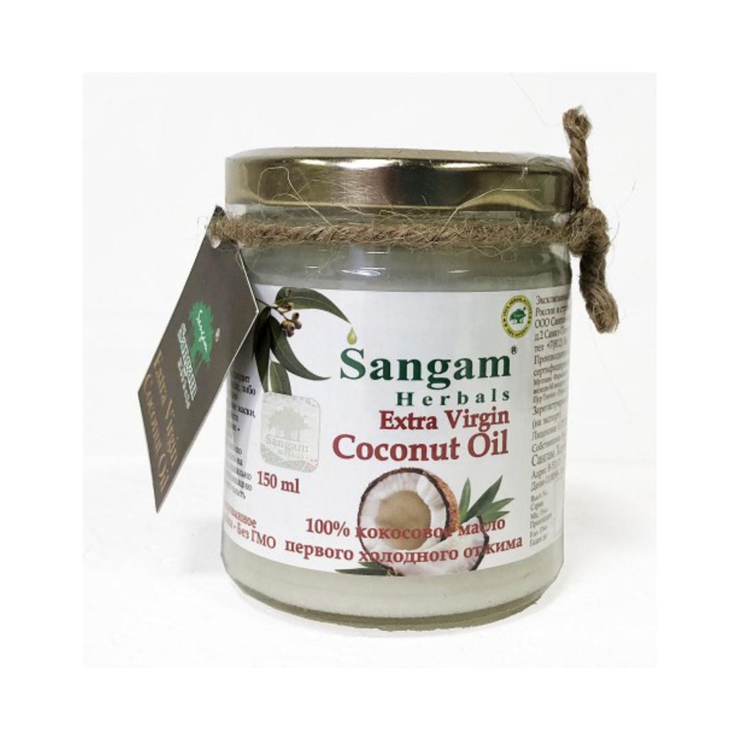 цена на Масло кокосовое Extra Virgin в стеклянной банке Sangam Herbals (150 мл)
