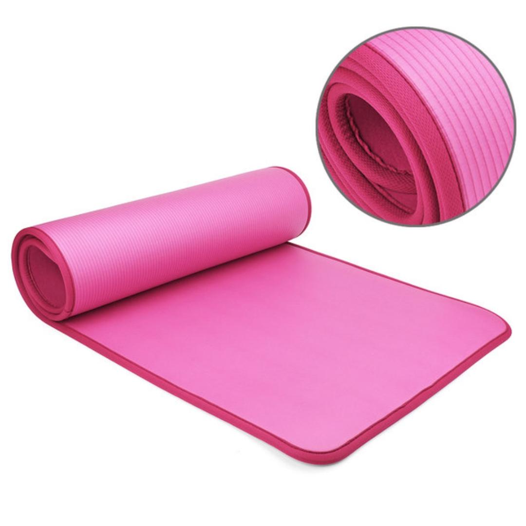 Коврик для йоги и фитнеса NBR 60 см с кантом 1 см (0,9 кг, 183 см, 1 см, розовый, 61 см) коврик для йоги и фитнеса nbr go do 1 см 183 см 1 см черный 60 см
