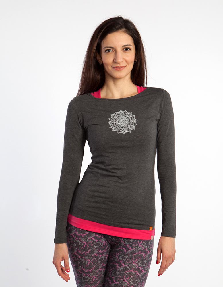 Футболка женская Мандала с длинными рукавами YogaDress ( YogaDress серый 0,3 кг 46-48 ) высокий ватикан тонкий лацкане мода случайные с длинными рукавами рубашки ретро карманные тренды дамы g1170008 синий серый 155 с