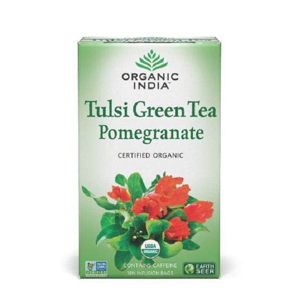 Чай зеленый с базиликом и гранатом в пакетиках  Organic India (18 шт)