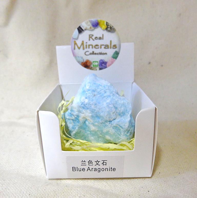 Арагонит голубой минерал/камень в коробочке Real Minerals Collection (Арагонит голубой)