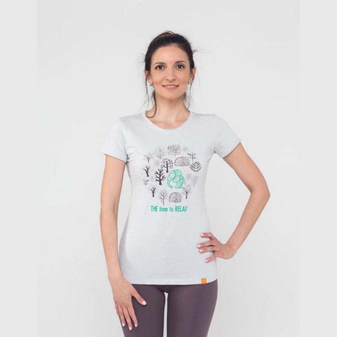 Футболка женская Time to relax YogaDress (0.2 кг, L (48), серый) футболка женская лотос с длинным рукавом yogadress 0 2 кг l 48 малиновый