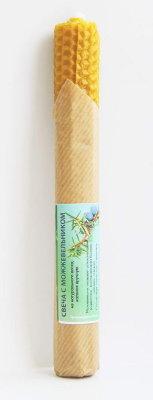 Свеча из вощины с можжевельником 20 см, 40 г, 5 часов ( желтый ) свеча из вощины с ромашкой 20х2 5см