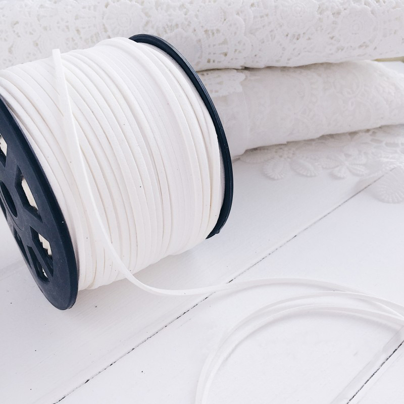 Замшевый шнур для подвесок (0,05 кг, белый)