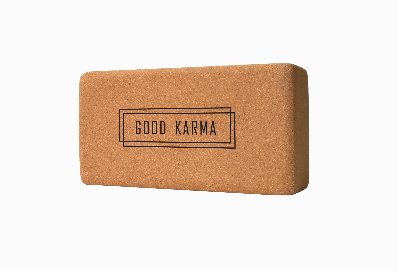 Кирпич для йоги из пробки с принтом Good Karma YC ( Yoga Club коричневый 0.9 кг 7 см 22,5 см 11 см )