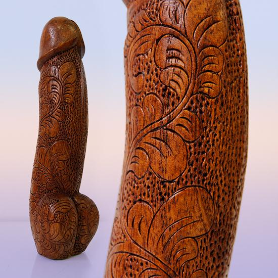 Фигурка пенис с узорами из индонезийского дерева 21см (0,3 кг)