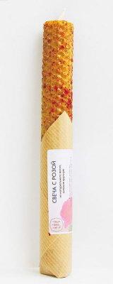 Свеча из вощины с розой 20 см, 40 г, 5 часов