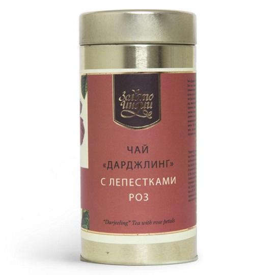 Чай черный листовой с лепестками розы Золото Индии (100 г)