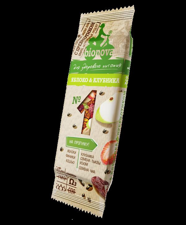 Фруктово-ореховый батончик Bionova с яблоком и клубникой (35 г) гранум пряность кумин зира семена сушеные 180 г